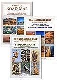 Le jeu de cartes complet NAMIBIE: carte routière NAMIBIA ROAD MAP + ETOSHA MAP (avec galerie de photos des animaux sauvages) + NAMIB DESERT MAP (avec photos des plus beaux endroits et de l'emplacement exact), livret pratique A4, clair et fiable, idéal pour la planification et le voyage