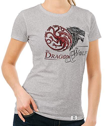 me of Thrones - Damen T-Shirt - Dragon and Wolf Wappen hellgrau-dunkelrot XL ()