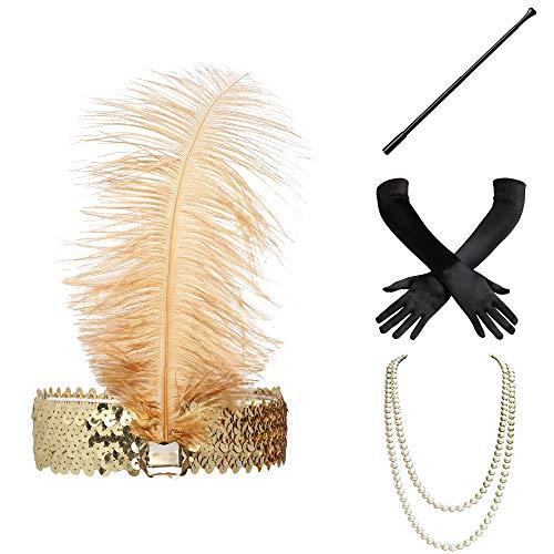 Party Kostüm Gatsby Motto - ArtiDeco 1920s Flapper Set Damen Verkleidung Party Gatsby Kostüm Accessoires Set Inklusive Stirnband Halskette Handschuhe Zigarettenhalter (Set-1)