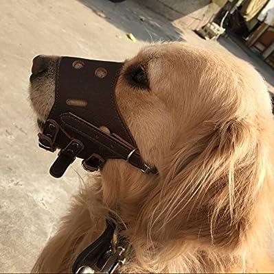 BINGPET Dog Muzzle Leather, Comfort Secure Anti-Barking Muzzles for Small, Medium and Large Dogs, Adjustable by BBPETUK