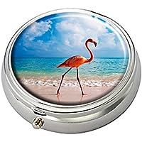 Cecillia Pink Flamingo Dekorative Boxen Silber Runde Pillendose Medizin Tablet Halter Geldbörse Organizer Fall... preisvergleich bei billige-tabletten.eu