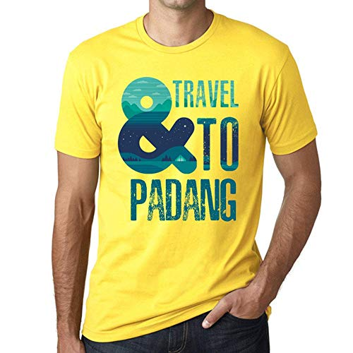 Herren Tee Männer Vintage T Shirt and Travel to Padang Gelb
