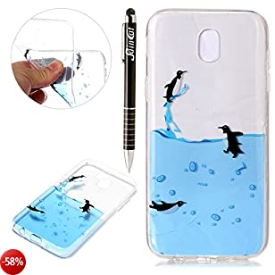 Custodia Galaxy J7 2017, Samsung Galaxy J7 2017 Cover Silicone Trasparente, SainCat Cover per Samsung Galaxy J7 2017 Custodia Silicone Morbido, Shock-Absorption Custodia Ultra Slim Transparent Silicone Case Ultra Sottile Morbida Gel Cover Case Custodia Pr