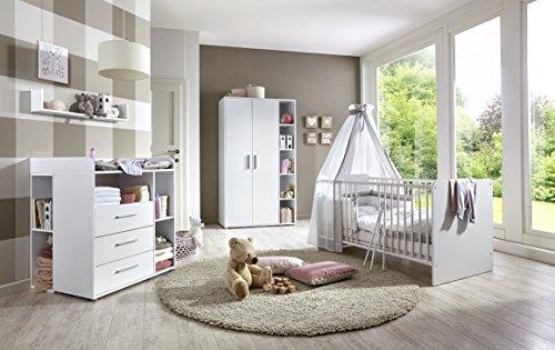 Babyzimmer / Kinderzimmer komplett Set KIM 2 in Weiß, Komplettset mit grossem Kleiderschrank, Babybett mit Lattenrost und Wickelkommode mit Wickelaufsatz und 2 Unterbauregalen sowie Wandregal, Made in Germany