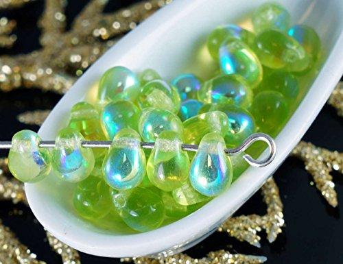 40pcs AB Verde Chiaro Vetro ceco Piccola Goccia Perline 4mm x 6mm