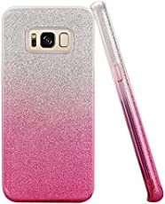 Aloin Glitter Sparkle Bling Soft Silicone Back Case Cover For Samsung Galaxy S8 Plus (Pink)