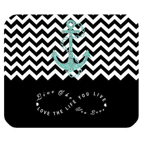 Black Colorblock Chevron Zigzag Infinity Anchor Mouse Pad Infinity Live The Life You Love, Love The Life You Live Rectangle Non-Slip Rubber Mousepad 7.08X8.66 inches/18X22 cm Gaming Mous (Mini-maus Chevron)