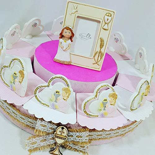 Bomboniere cuore prima comunione bimba su torta portaconfetti confetti bianchi- torta 12 fette + 12 cuori comunione + portafoto cenrale + confetti cioccolato apr