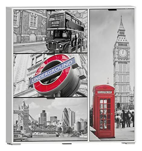 SZ Suarez Mueble Armario Zapatero Original serigrafia Londres 4 Puertas habitacion recibidor Pasillo...