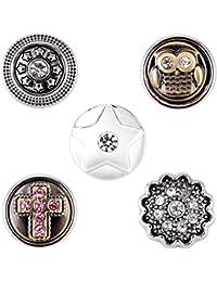 Morella señorías small Click-Button Set 5 pcs botones 12 mm diámetro rosario Cruz y estrellas con búho y flor