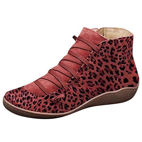 Inueinnd Botines Planos Mujer, 2019 Invierno Estampado De Leopardo Vintage con Cordones Arco Botas Botas CóModas De TacóN Plano Cremallera Bota