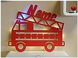 Schlummerlicht24 3d Deko Motive Led Lampe Feuerwehr Blaulicht Name - Geschenk für Kinder Feuerwehrauto Feuerwehrzimmer Rot Test