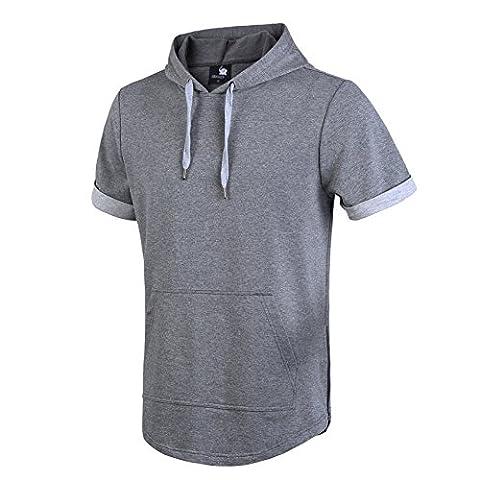Mens Hipster Hip Hop Kurzarm Longline Pullover Hoodies Shirts Grau M