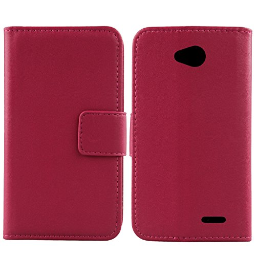 Gukas Design Genuino Cuero Case para LG L65 D280N / L70 D320N Flip Billetera Funda Carcasa De Lujo Autentico Ranuras Tarjetas Piel Premium Cover (Rosa)