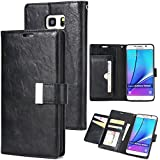 For Samsung Galaxy Note 5 Case, [Extra Card Slot] Danallc [Wallet Case] PU Leather TPU Casing Folio [Drop Protection] Case Compatible With Samsung Galaxy Note 5, Black