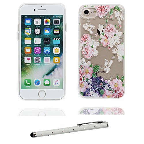 """iPhone 7 Coque, Skin Hard Clear étui iPhone 7, Design Glitter Bling Sparkles Shinny Flowing Apple iPhone 7 Case Cover 4.7"""", (Grand Flamant) résistant aux chocs & stylet Stylish # 4"""