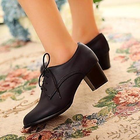 Donna Chunky tallone punta tonda Oxfords scarpe (più colori) ,