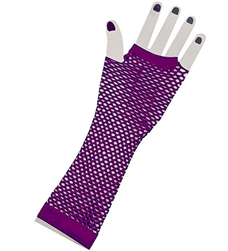 Purple Lange Fischnetz Handschuhe Erwachsene - Pop-Diva der 1980er Jahre lange Netz-Handschuhe In stilvolle lila