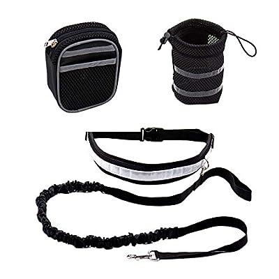 Decdeal 3 in 1 Joggingleine Set Joggen Hundeleine mit zusätzliche Tasche, Flaschehalter und Reflektor-Streifen