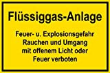 Warnschild aus Kunststoff - Flüssiggas-Anlage -- 45 X 30 cm