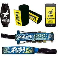 """Gibbon Slacklines Fun Line mit Treewear, Blau, 15 Meter (12,5m Band + 2,5m Ratschenband), inklusive Ratschenschutz und Baumschutz, Breite 2""""/5cm Slackline-Set, Komplettset 12,5 m Webbing + 2,5 m"""