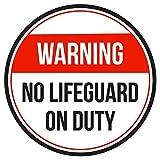 Maureen52Dorothy ACHTUNG KEINE Lifeguard On Duty Pool Spa Warnschilder Sticker funny gewerblichen Safety Signs Aufkleber rund Vinyl Hinweis Schild Aufkleber 22,9x 22,9cm