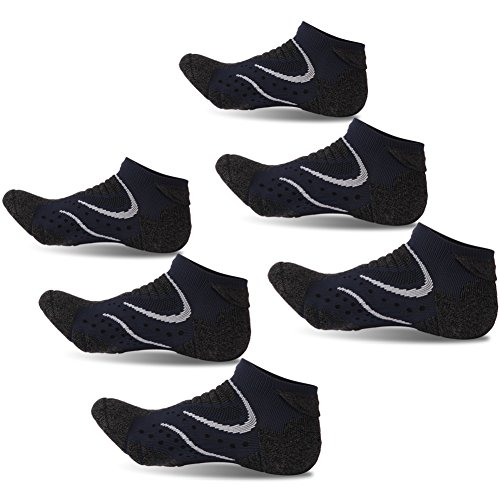 Facool Men's Thin Padded Roll Top CoolMax Low Cut Anti-bacterial Ankle Socks for Hiking Walking Running Tennis Golf Exercise 6 Pairs Green&Black