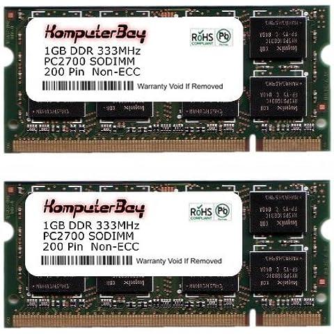 Komputerbay - Módulo de memoria (2 GB, 2 unidades de 1 GB, 200 pines, PC2700, SO-DIMM, DDR, 333 MHz)