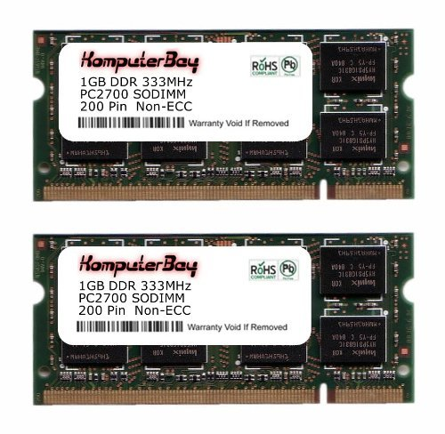 Komputerbay 2GB (2x1GB) DDR SODIMM (200 pin) 333Mhz DDR333 PC2700 für Apple Mac Memory PowerBook G4 1.5GHz 15-inch Combo drive (M9676LL/A) 116 2 GB (2x1GB) - 1g 1gb 333mhz Ddr Pc