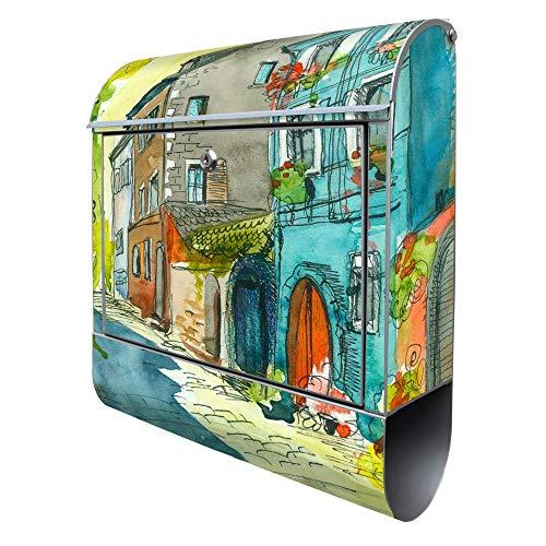 BANJADO Design Briefkasten mit Zeitungsfach, 2 Schlüssel, A4 Einwurf, silber pulverbeschichtet, mit Motiv Historischer Stadtkern
