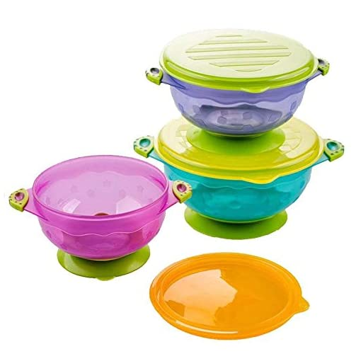 Yakamoz 3 Size Stay Put Suction Baby Bowls with Snap Tight Lids, Suction Toddler Spill-Proof to Go Storage Feeding Set 51LwRrAaK2L