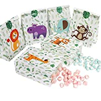OurWarm 24pcs Jungle Safari Favor Bags, Zoo Animals Candy Gift Bags with Stickers, Woodland Treat Goodie Bags for Kids Baby Shower Birthday Party Supplies, 6 Styles