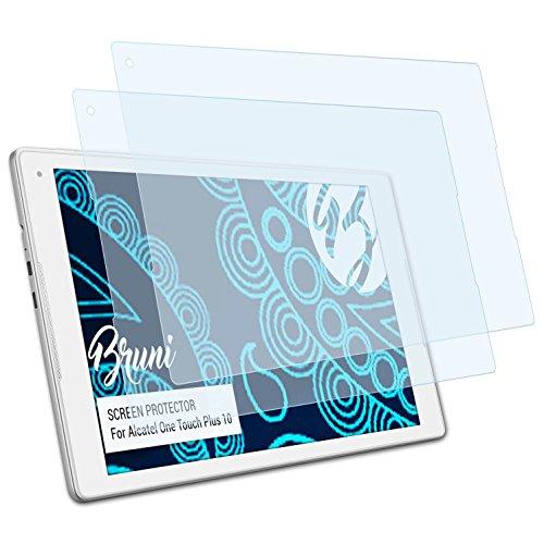Bruni Schutzfolie für Alcatel One Touch Plus 10 Folie, glasklare Displayschutzfolie (2X)