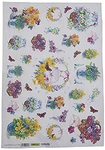 Renkalik renkalikqsipr18835x 50cm, diseño Floral de cestas de Seda impresión Hoja de Papel (Juego de)