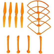 Hélices Cuchillas y hélices Protectores Láminas Armazón y aterrizaje Skid Set RC Drone Accesorio para Syma X8C / X8W / X8G / X8HC / X8HW / X8HG Drone(naranja)