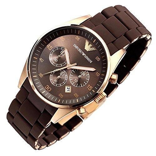 2ff651c15c89 Emporio Armani AR5890 Hombres de cuarzo oro rosa deporte silicona reloj  cronógrafo de acero inoxidable