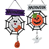 OULII Decorazione di Halloween Appendere Zucca Fantasma Ragnatela Addobbi 2 Pezzi