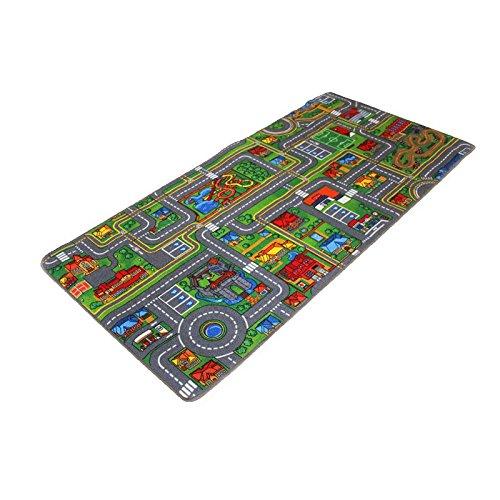 Kinderteppich STREETS - 0,95m x 2,00m - Schadstoffgeprüft, Anti-Schmutz-Schicht, Auto-Spielteppich für Jungen & Mädchen, Verkehrsteppich