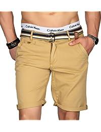 300892c1501040 Indicode Herren Sommer Bermuda Chino Shorts Kurze Hose Sommerhose Short mit  Gürtel B499