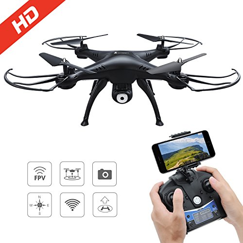 Drone with HD Camera, AMZtronics T20CW Wireless Drone FPV 2.4Ghz 720P HD Angle Adjustable Camera RC Quadcopter RTF Altitude Hold UFO with Newest Hover and 3D Flips Function