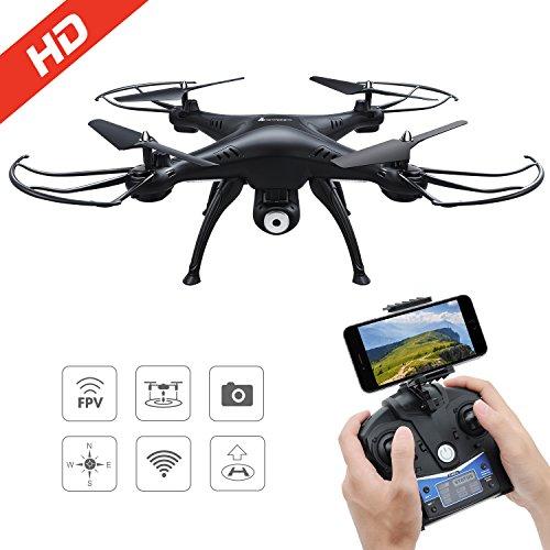 AMZtronics-Drone-con-Telecamera-720P-HD-Camera-WiFi-FPV-Hover-Drone-Camera-Regolabile-Telecomandato-Modalit-senza-testa-3D-Flips
