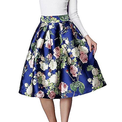 Shineflow Women's Vintage Retro High Waisted Floral Printed A-line Flared  Midi Knee Skirt (M, Blue )
