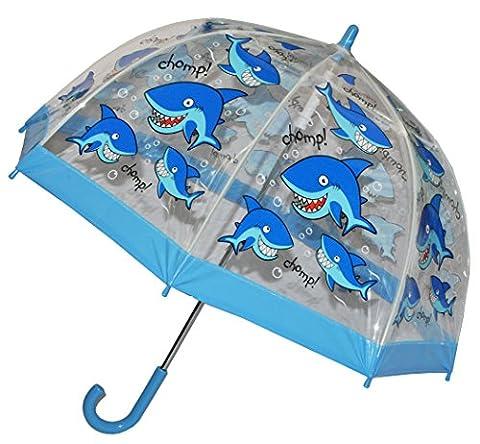 Regenschirm Hai Fisch - Kinderschirm transparent Ø 70 cm - Kinder Stockschirm - für Mädchen Jungen Schirm Kinderregenschirm / Glockenschirm Tiere Fische durchsichtig &