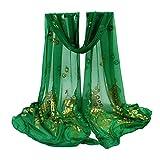 STRIR Pañuelos Fular Foulard Mujer Bufandas Estampado Diseño Flor del Pavo (Verde)