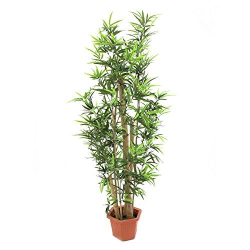 Set 2 x di Bambú artificiale con 1290 foglie, spesse canne di bambú vere, 150 cm - 2 pezzi di Bambú decorativo / Bambú ornamentale - artplants