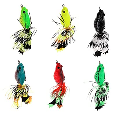 Sharplace 6Pcs 3D Frog Soft Fishing Lure Floating Crankbaits - Bass Pike Perch Catfish from Sharplace