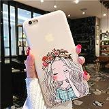 GUYISJK Mobile Shell Flower Girl 8X Apple Plus Femme XS Max/Xr/7Plus Couvrir 8/6S...