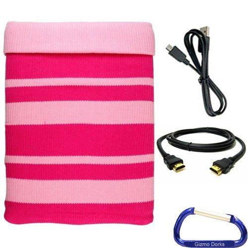 Gizmo Dorks Schutzhülle aus weichem Baumwoll (Pink), HDMI Kabel, und Mini USB mit KarabinerSchlüsselanhänger für Toshiba Thrive Tablet