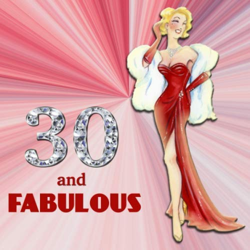 30 and Fabulous: Retro Blonde Bombshell Design 30th Birthday Guest Book for Women - Red & Diamond Sign In Book - Vintage Style Thirtieth Bday Party ... Name and Address - Square Size  8.25 x 8.25