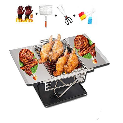 Tragbarer faltender Holzkohlegrill,Tischgrill im Freien mit Tragetasche, Perfekt für Outdoor Camp Garden Barbecue mit Grillhandschuhen, Grillen, gegrillten Clips, Bürsten